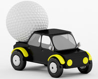 3D Golf ball in a black car Stock Images
