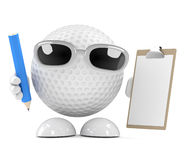 3d Golf ball character is organised Royalty Free Stock Images