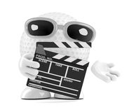 3d Golf ball with clapperboard Stock Photography