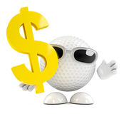 3d Golf ball dollar sign Royalty Free Stock Images