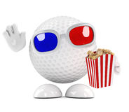 3d Golf ball eating popcorn at the 3d movie Royalty Free Stock Photo