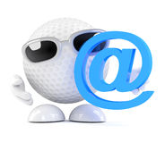 3d Golf ball with email address symbol Stock Photography