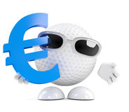 3d Golf ball with Euro currency symbol Royalty Free Stock Images
