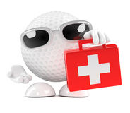 3d Golf ball with first aid kit Stock Photo