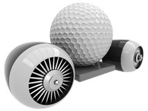 3D golf ball on flying engine Royalty Free Stock Photo