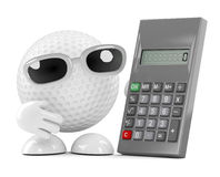 3d Golf ball has a calculator. 3d render of a golf ball character next to a calculator Royalty Free Stock Photos