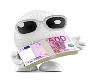 3d Golf ball has Euro notes to spend Royalty Free Stock Photos