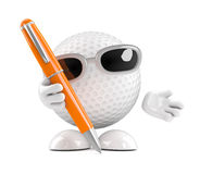 3d Golf ball has a pen Royalty Free Stock Images