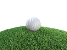 3d Golf ball on hillock Stock Images