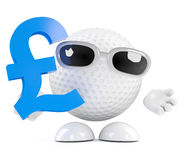 3d Golf ball holds UK Pounds sterling symbol Stock Photography