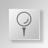3D golf ball icon Business Concept. 3D Symbol Gray Square golf ball icon Business Concept Royalty Free Stock Images
