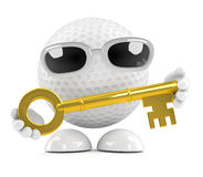3d Golf ball key Stock Photos