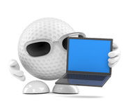 3d Golf ball laptop Royalty Free Stock Images