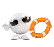 3d Golf ball with life belt Stock Photos