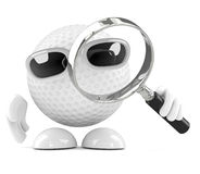3d Golf ball with magnifying glass Stock Image