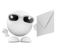 3d Golf ball mail Stock Images