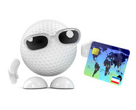 3d Golf ball pays with debit card Stock Photography