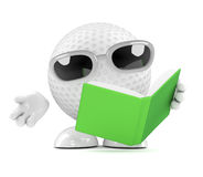 3d Golf ball reads a book Royalty Free Stock Photo