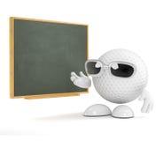 3d Golf ball teachs at the blackboard Royalty Free Stock Photos