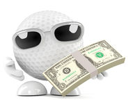 3d Golf ball US Dollars Stock Photo
