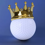 3d Golf ball wth gold crown Royalty Free Stock Images