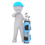 3d golfer with his golf bag full of clubs Royalty Free Stock Photos