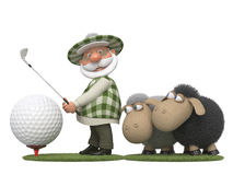 The 3D golfer with lambs Stock Photo