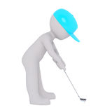 3d golfer lining up his shot with his club Royalty Free Stock Photo