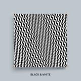 3d golvende achtergrond Dynamisch effect Zwart-wit ontwerp Patroon met optische illusie Het malplaatje van het dekkingsontwerp Ve royalty-vrije illustratie
