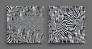 3d golvende achtergrond Dynamisch effect Zwart-wit ontwerp Patroon met optische illusie Vector illustratie royalty-vrije illustratie