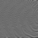 3d golvende achtergrond Dynamisch effect Zwart-wit ontwerp Patroon met optische illusie Vector illustratie stock illustratie