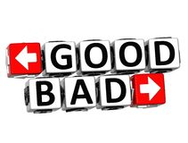 3D Good Bad Button Click Here Block Text. Over white background Royalty Free Stock Photography