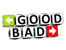 3D Good Bad Button Click Here Block Text. Over white background Royalty Free Stock Images