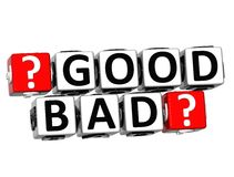 3D Good Bad Button Click Here Block Text. Over white background Royalty Free Stock Photos