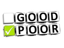 3D Good Poor Button Click Here Block Text Stock Photo
