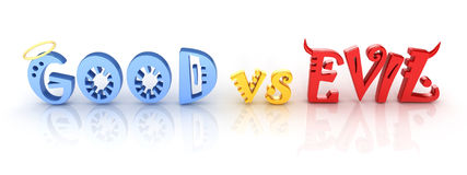 3d good vs evil. 3d words good, vs, and evil Royalty Free Stock Photography