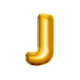 3D gouden de folie realistisch alfabet van de ballonbrief J Stock Fotografie