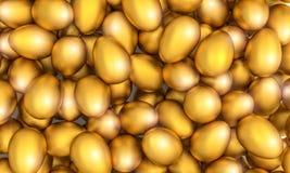 3d gouden ei van Pasen Stock Afbeelding