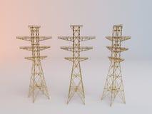 3d Gouden Elektriciteitsantenne Royalty-vrije Stock Afbeeldingen