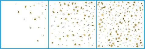 3d gouden en zilveren vieringen van sterrenconfettien Eenvoudig feestelijk modern ontwerp De vector van de vakantie Reeks 3 in 1 stock illustratie