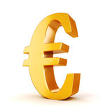 3d Gouden Euro muntsymbool Stock Afbeelding