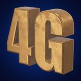 3D gouden 4G pictogram op blauw Royalty-vrije Stock Foto's