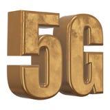 3D gouden 5G pictogram op wit Royalty-vrije Stock Afbeeldingen