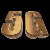 3D gouden 5G pictogram op zwarte Royalty-vrije Stock Foto's