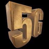 3D gouden 5G pictogram op zwarte Stock Afbeeldingen