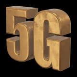 3D gouden 5G pictogram op zwarte Stock Afbeelding