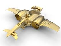 3D gouden jet/autoconcept Royalty-vrije Stock Fotografie