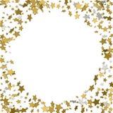 3d gouden kader of grens van willekeurige verspreidings gouden sterren op wit Royalty-vrije Stock Foto's