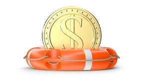3d gouden muntstukdollar, in de oranje ring van de reddingsboeibesparing Concept voor besparingsfonds, financieel, het beleggen,  Stock Afbeeldingen