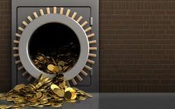 3d gouden muntstukken over bakstenen Royalty-vrije Stock Foto's